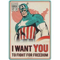 Chapa Metálica Marvel Captain America